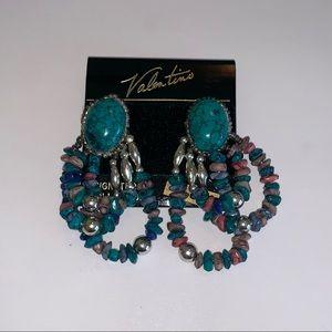 Vintage 80s 90s Bead Earrings Retro Boho NEW
